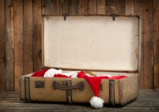 vintage suitcase with santa clothes